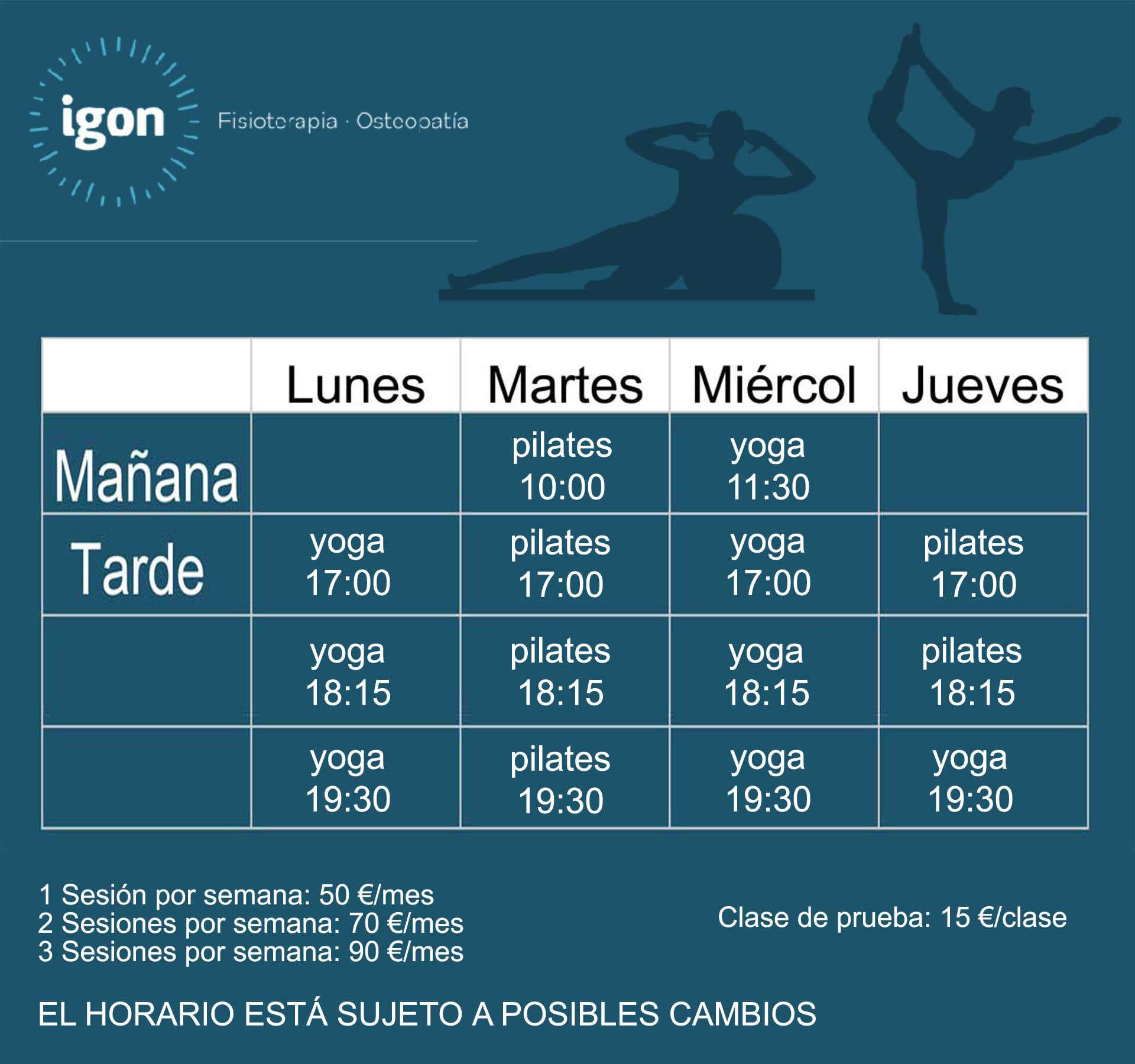 Yoga y pilates en Bilbao horarios y precios