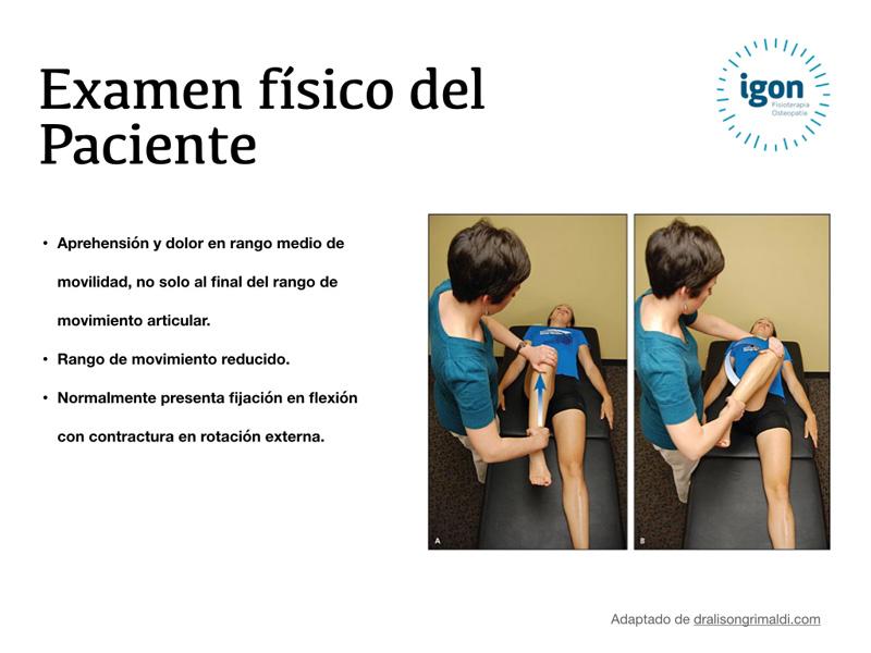 Examen físico de un paciente con dolor de cadera